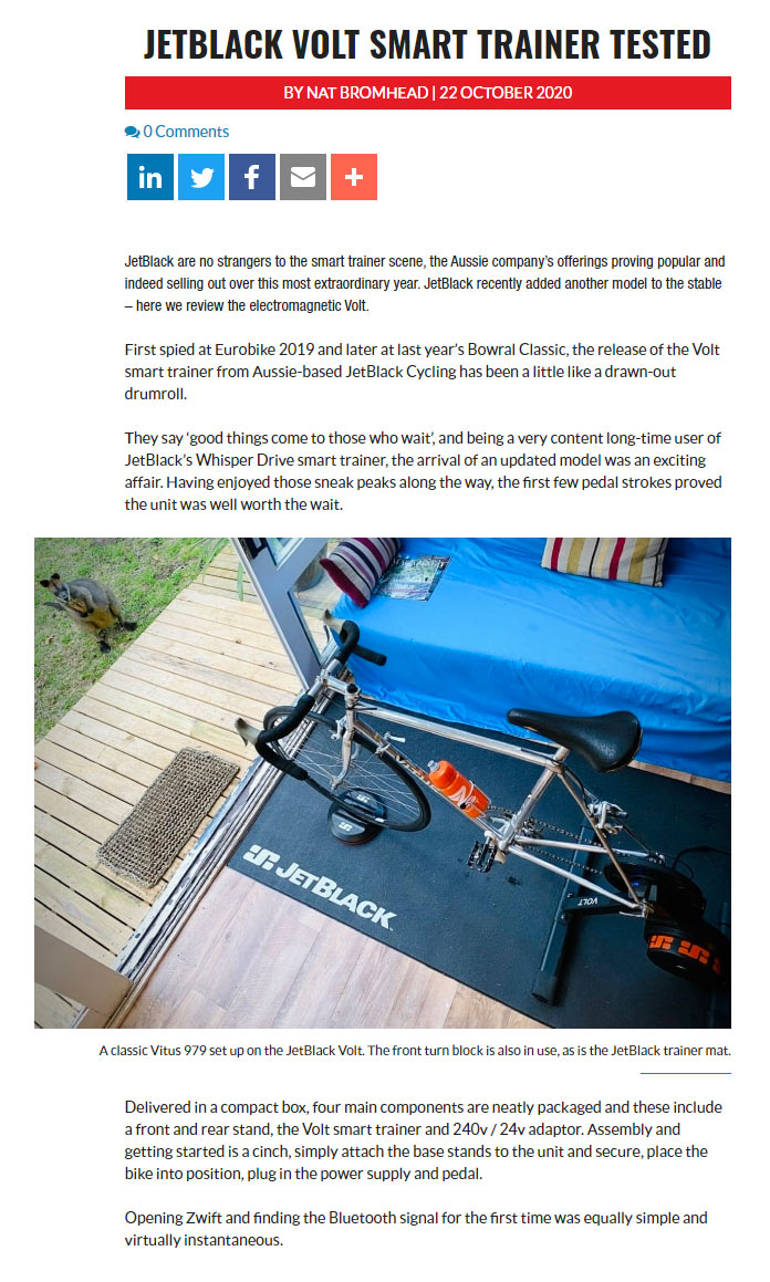Australian Bicycling review of the VOLT smart trainer