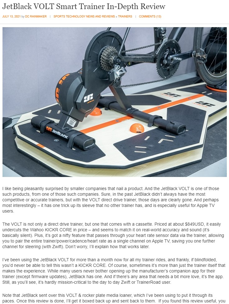 DC Rainmaker review of the VOLT smart trainer